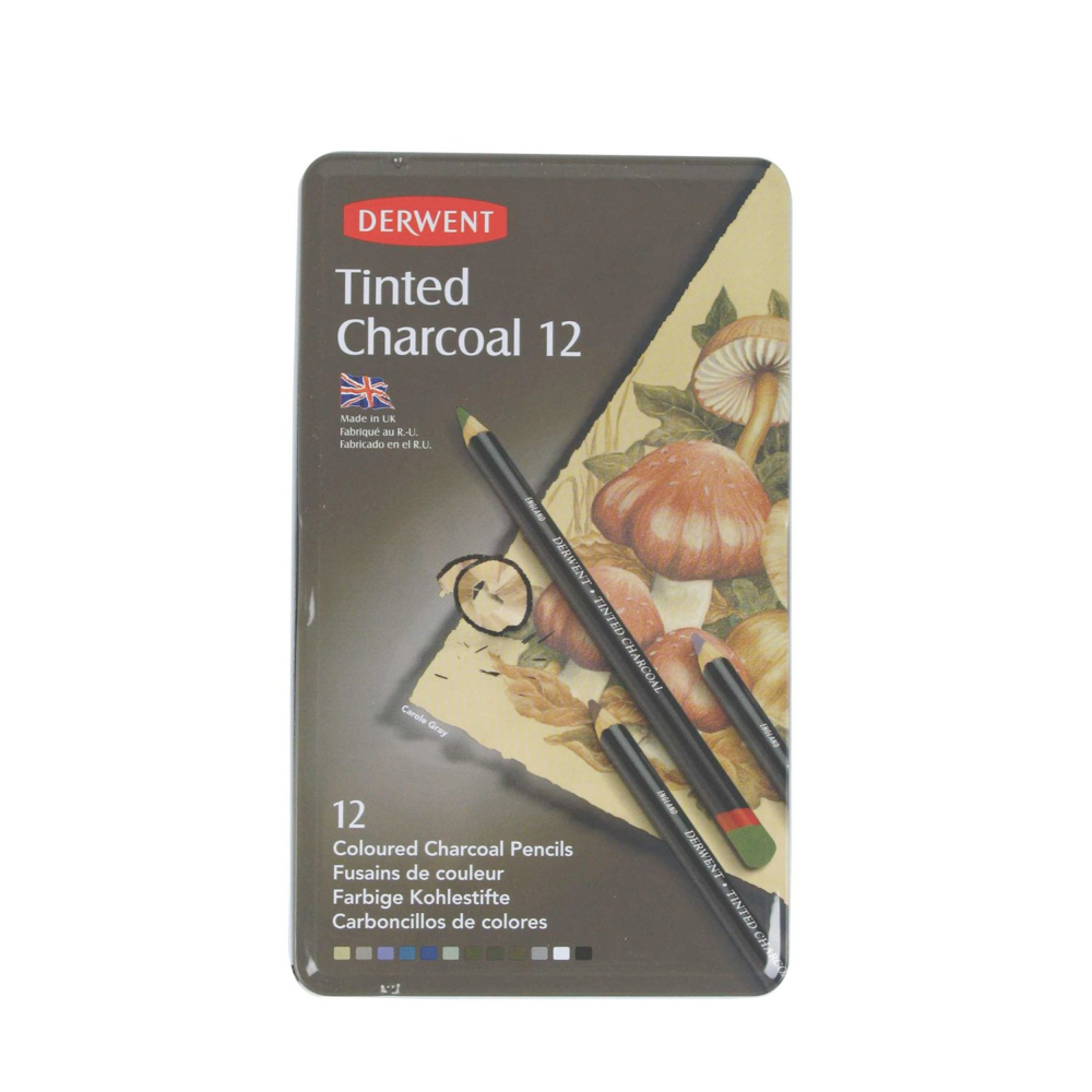 Derwent Tinted Charcoal 12 Pencil Tin Set
