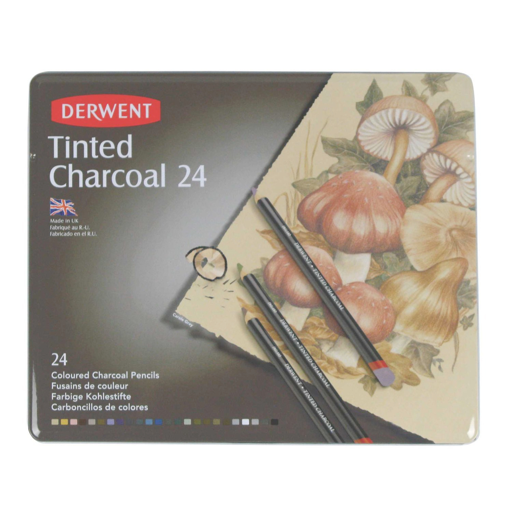 Derwent Tinted Charcoal 24 Pencil Tin Set