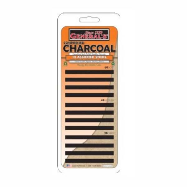 General Compressed Charcoal Stcks Set/12 Asst