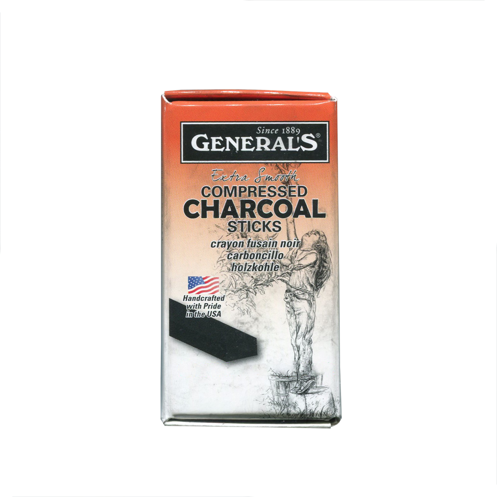 General Compressed Charcoal Stick 2B 6//Box