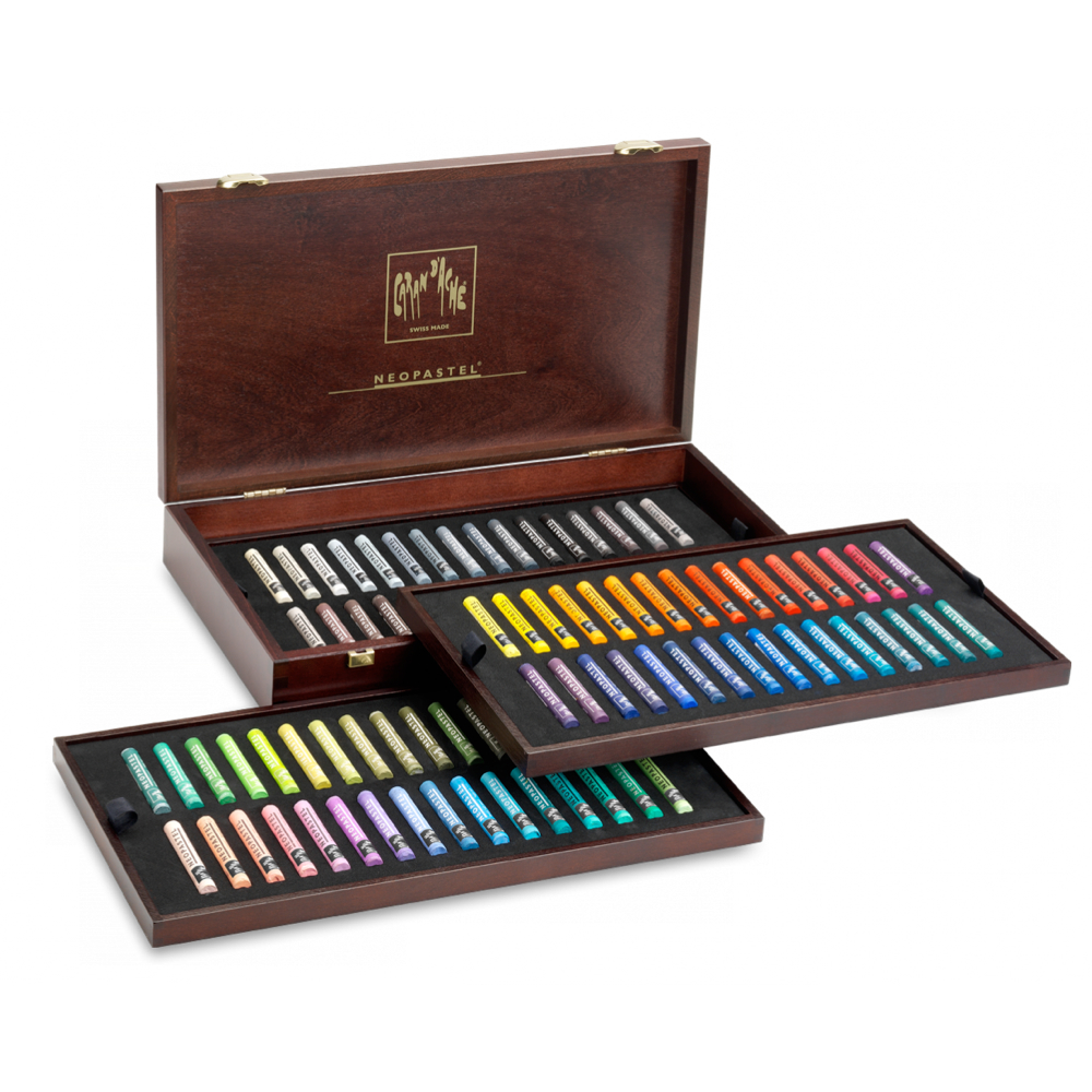 Neopastel Set Of 96 Oil Crayons In Wood Box