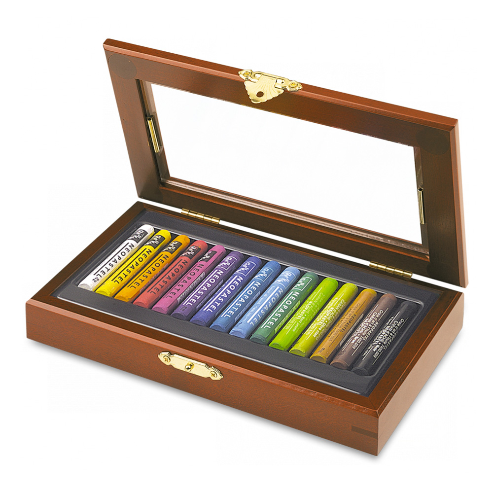 Neopastel Set Of 15 Oil Crayons In Wood Box