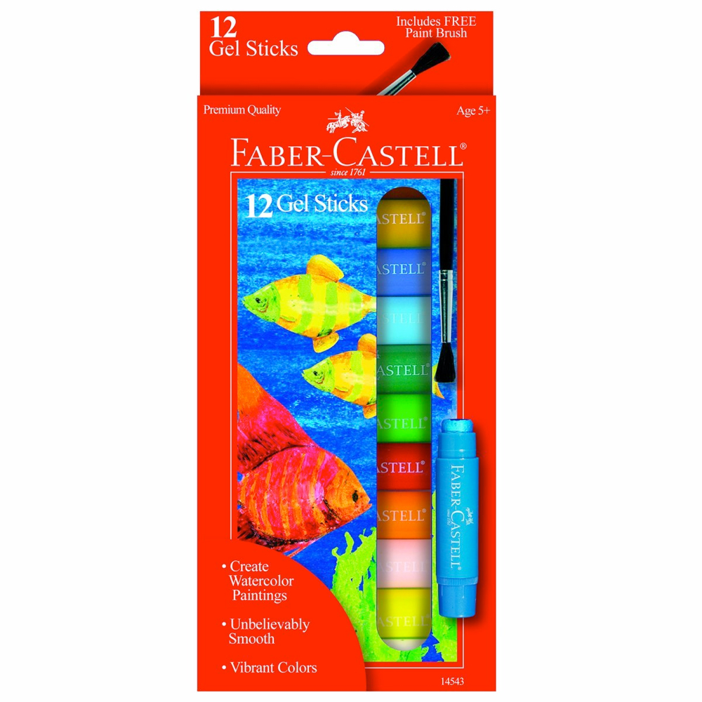 Faber-Castell 12 Gel Sticks W/Brush