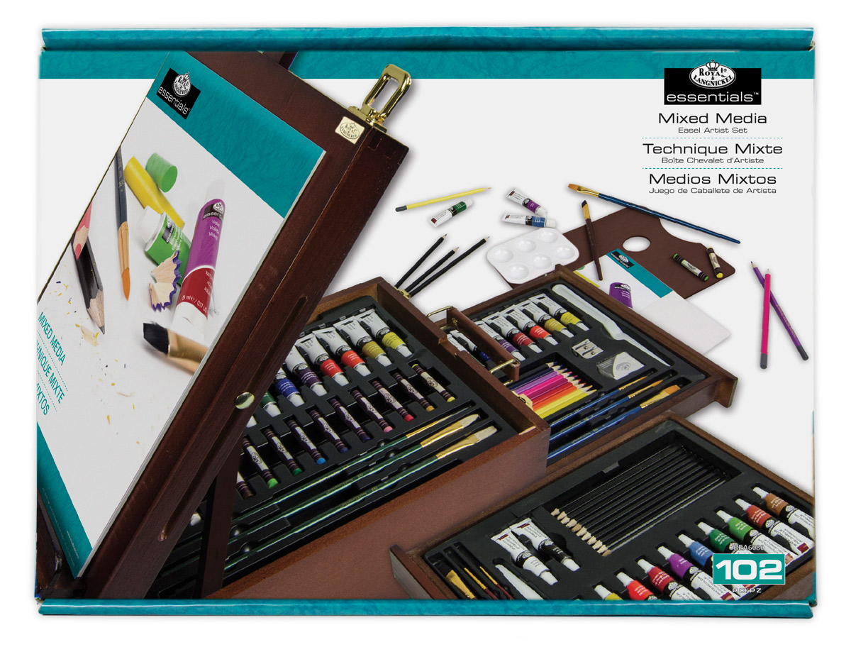 R&L 102-Piece Mixed Media Dark Easel Set