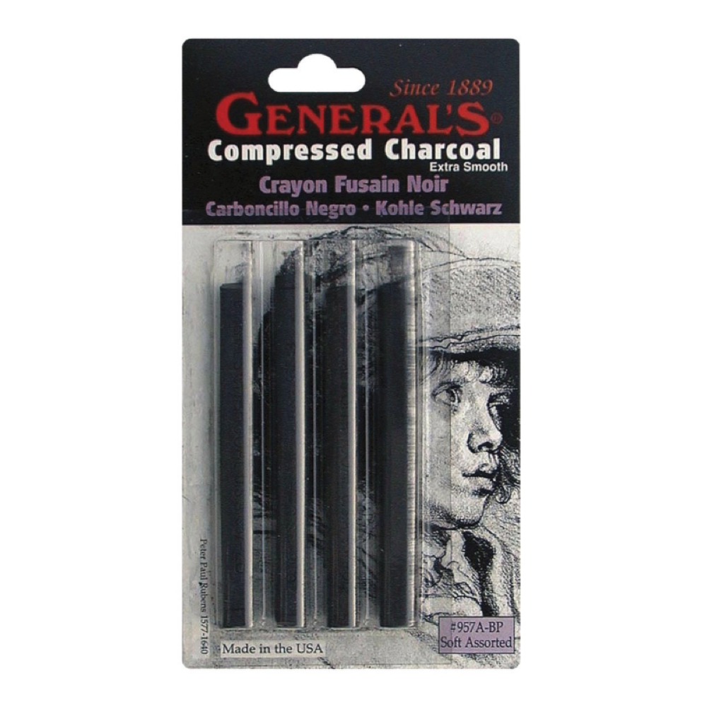 General 4 Soft Compressed Charcoal Set