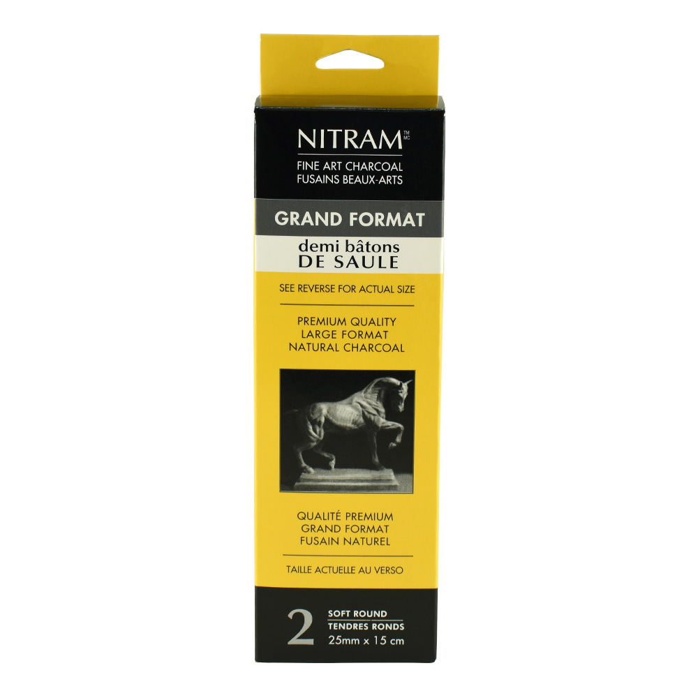 Nitram Charcoal X-Soft Round 25Mm Demi Stick