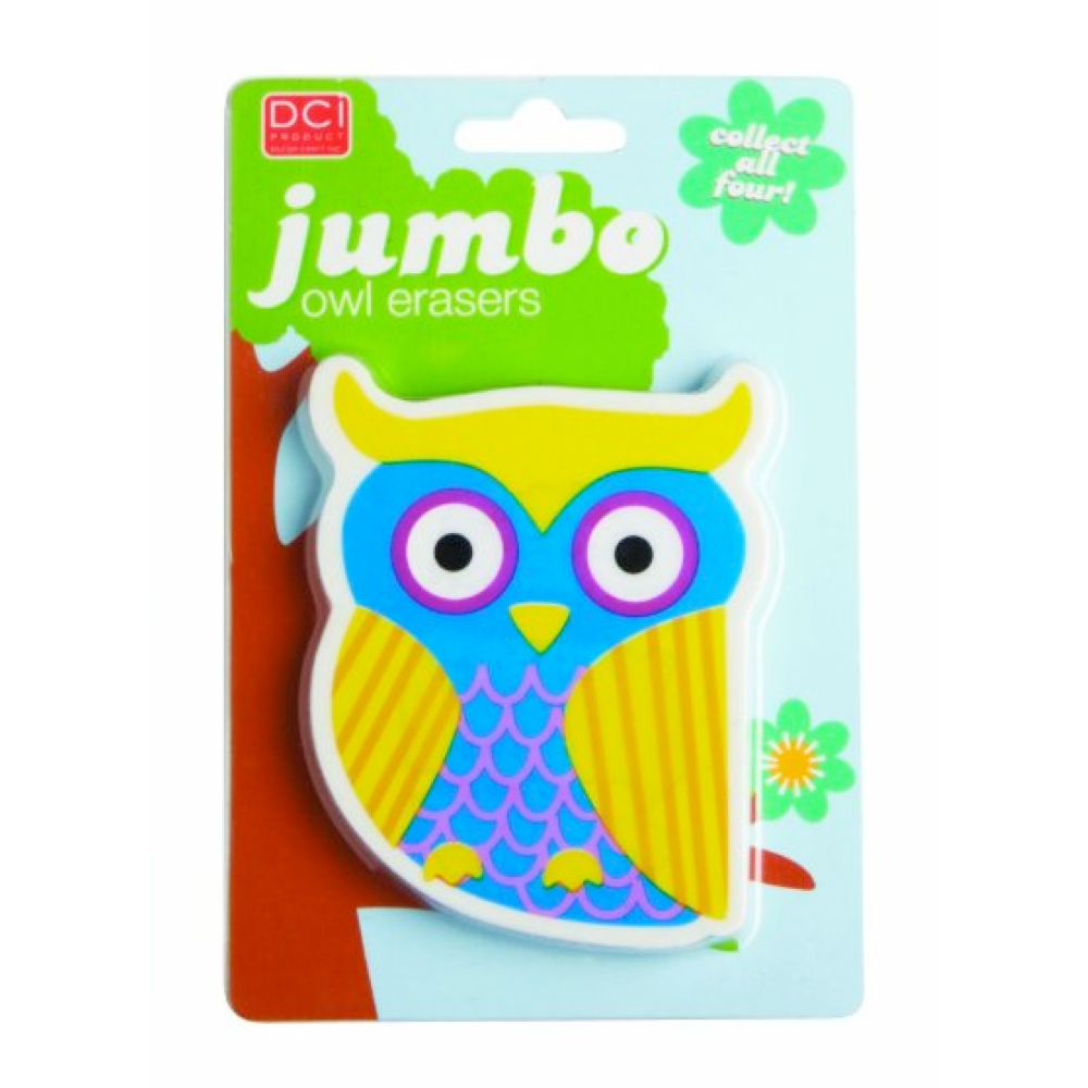 Dci Jumbo Owl Eraser Assorted Design 1 Pc