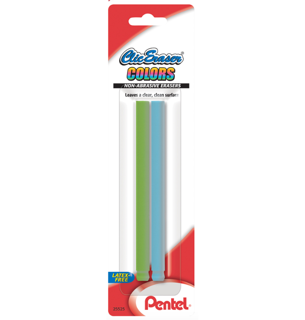 Pentel Clic Eraser Assorted Color Refill 2/Pk