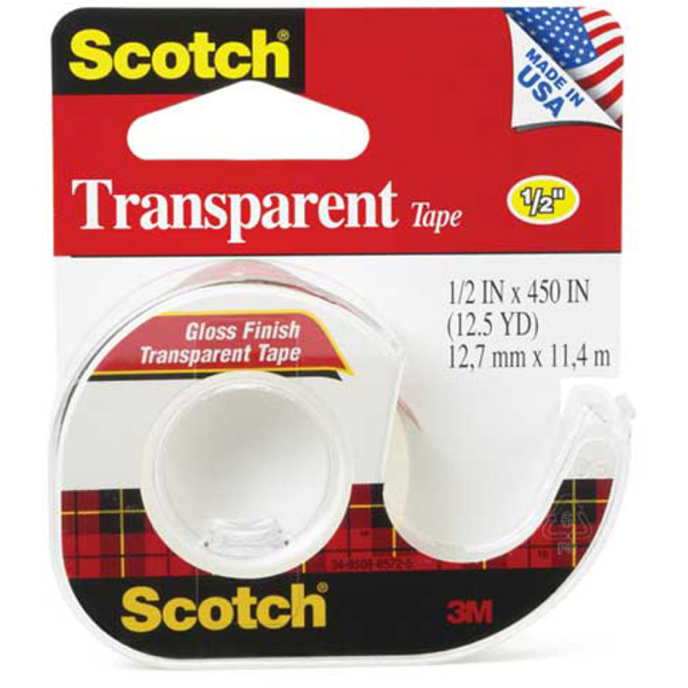 3M 144 Clear Transparent Tape 1/2Inx450In