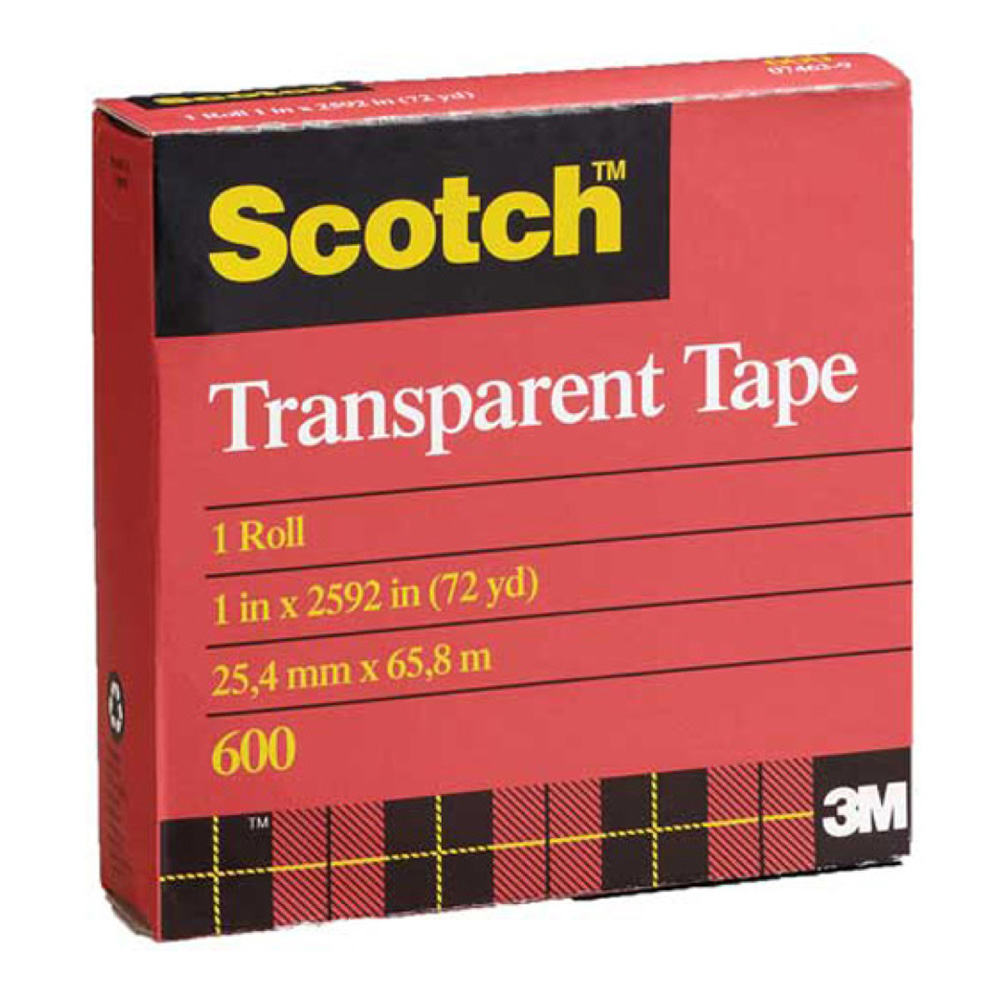 3M 600 Clear Cellophane Tape 1In X 72Yds