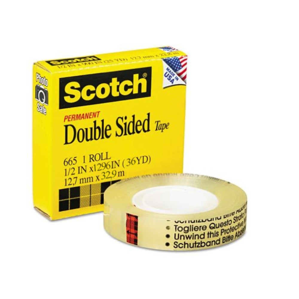3M 665 Double Coated Clear Tape 1/2In X 36Yds