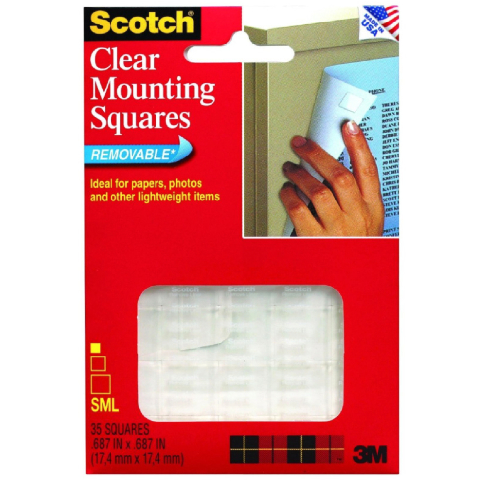 3M 859 35 Removable Mounting Squares Clear