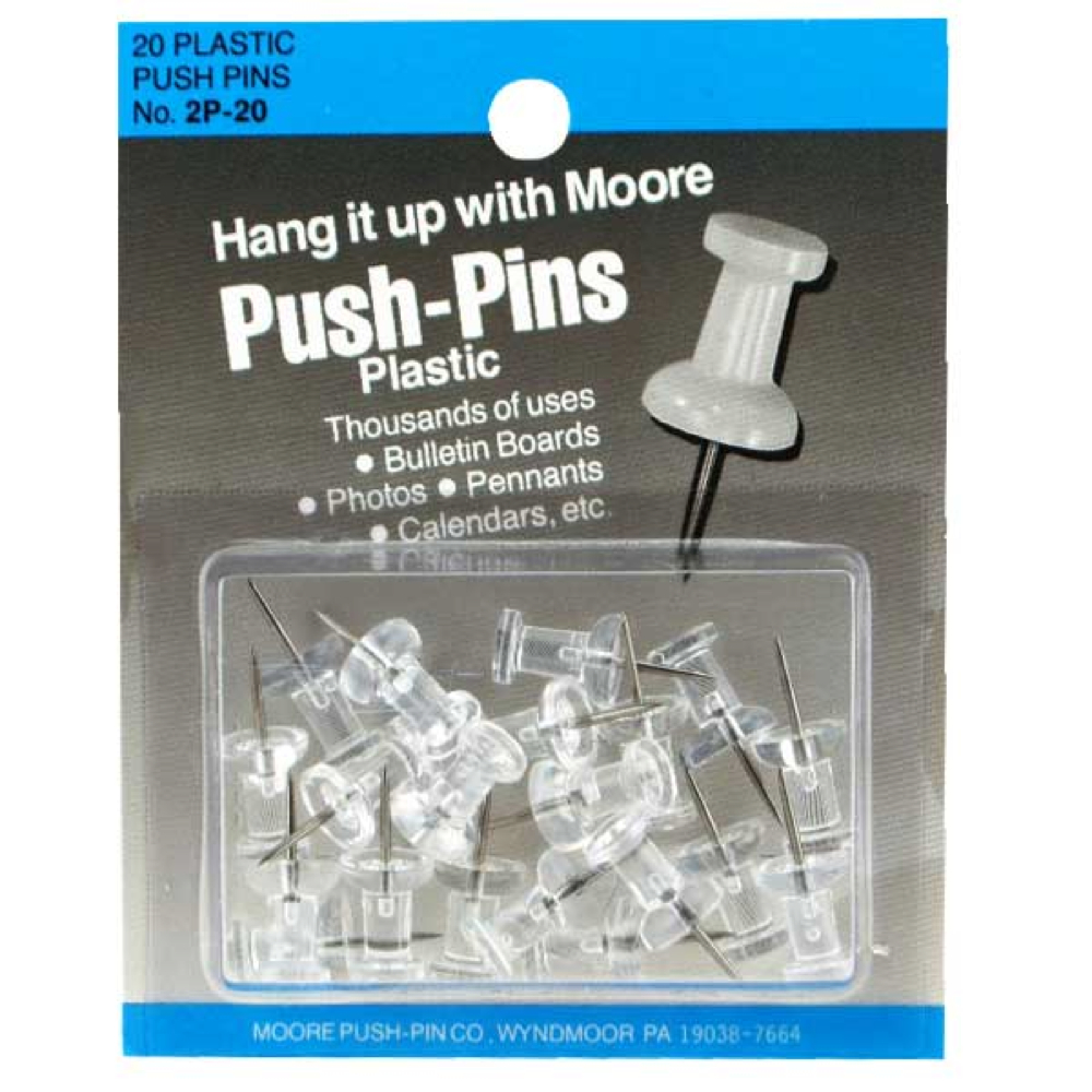 Clear Plastic Push Pins Box 20