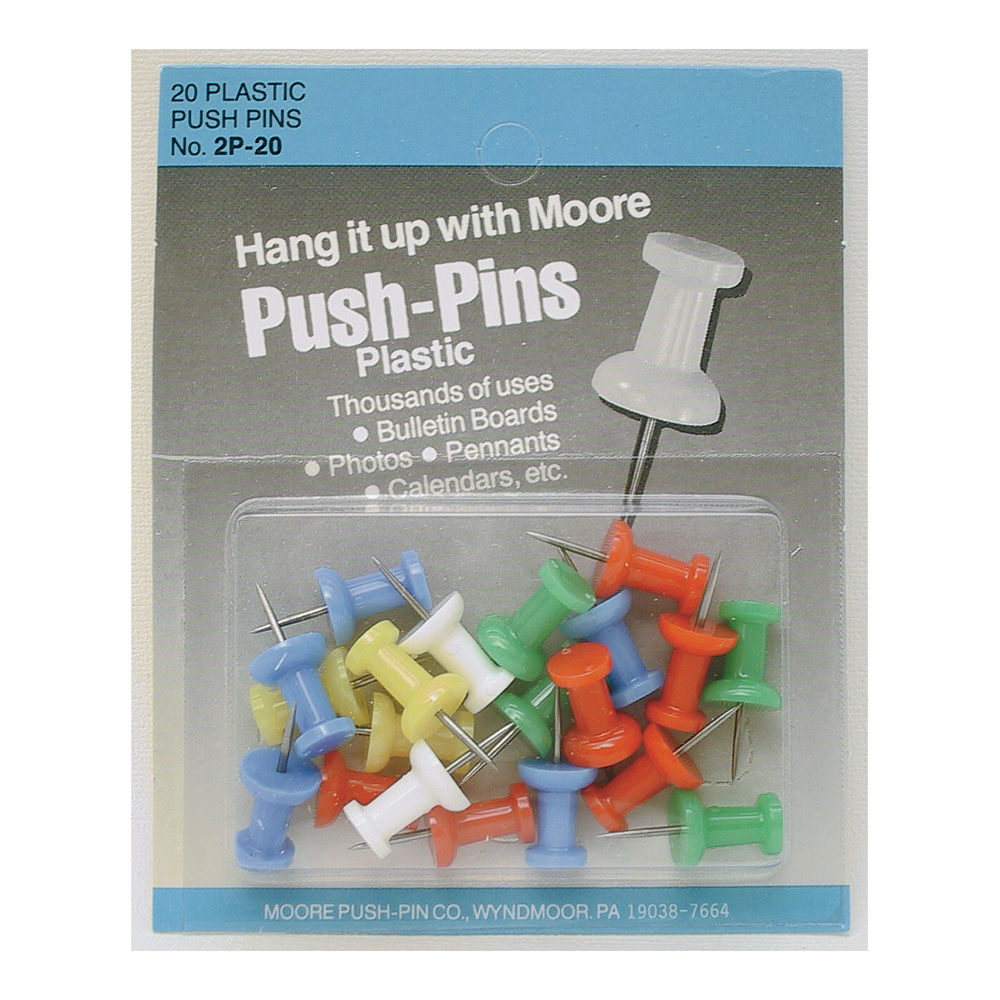 Plastic Push Pins Assorted Colors Box 20