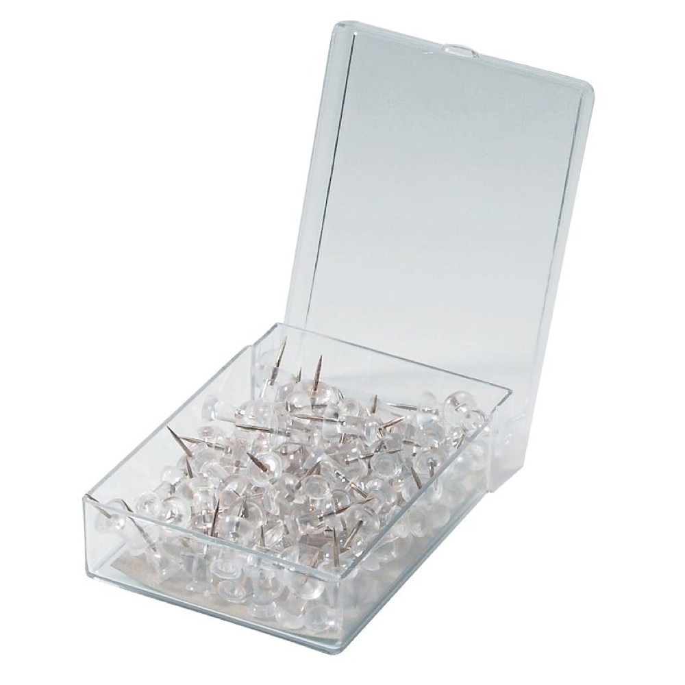 Clear Plastic Push Pins Box 100