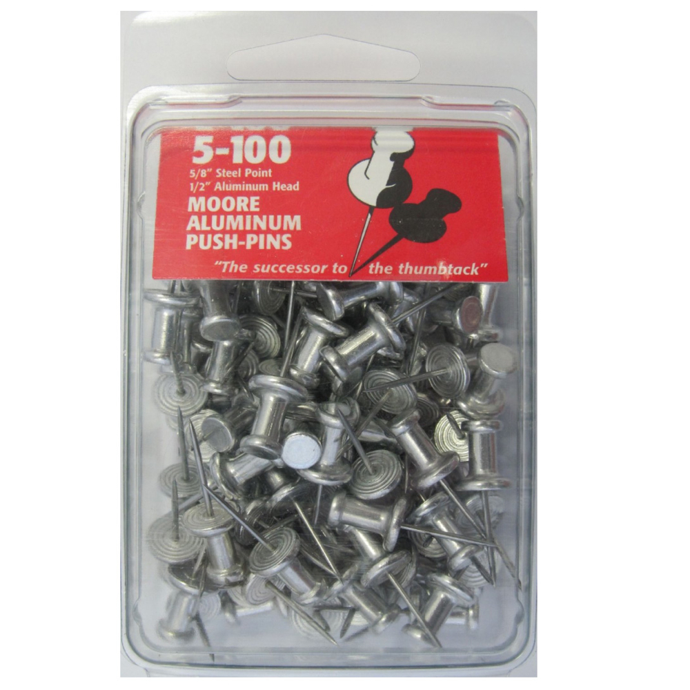 Aluminum 3/8In Push Pins Box 100