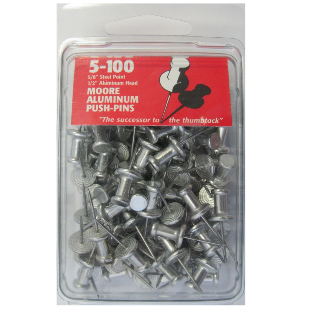 Aluminum 5/8In Push Pins Box 100