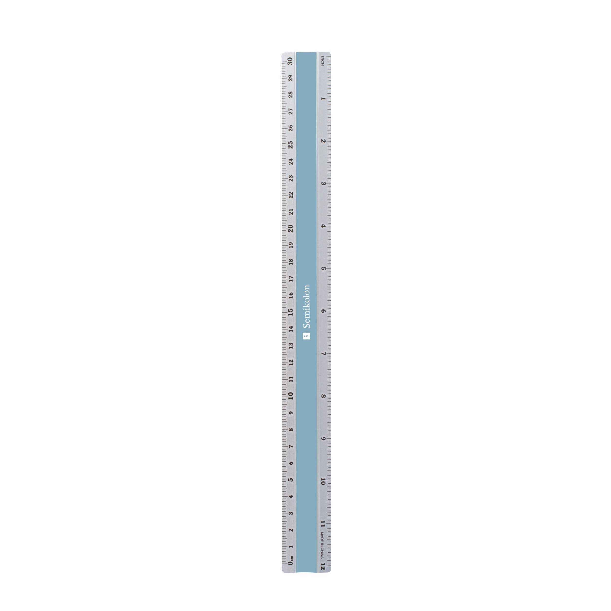 Semikolon 12 Inch Aluminum Ruler Light Blue