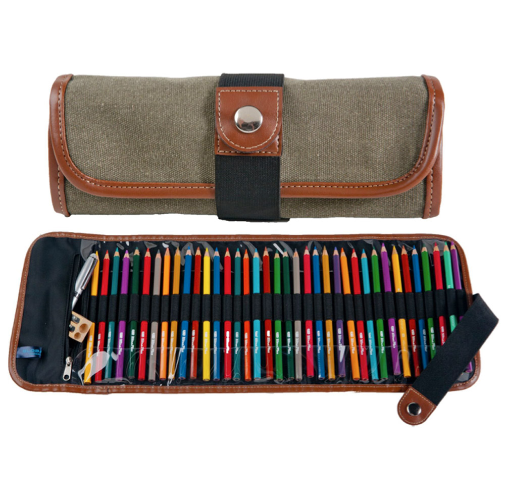 Global Art Canvas Roll-Up Pencil Case Olive