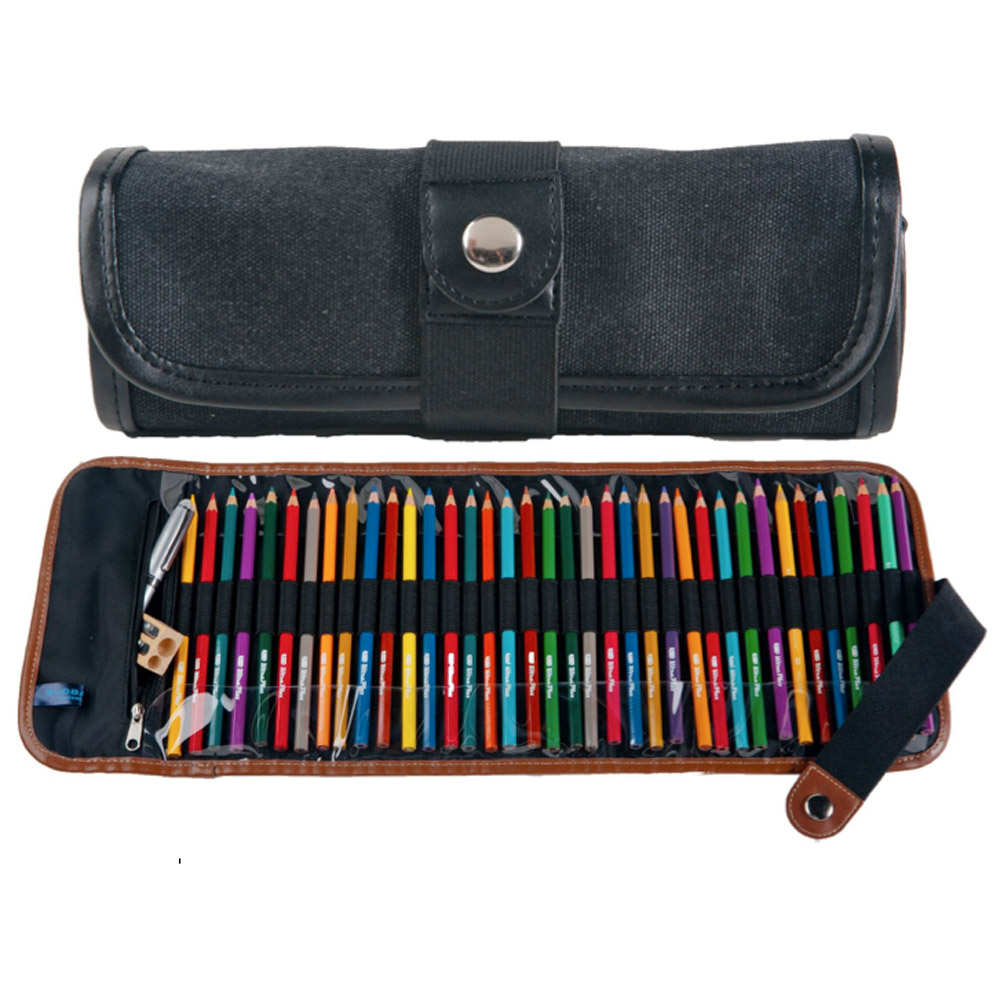 Global Art Canvas Roll-Up Pencil Case Black