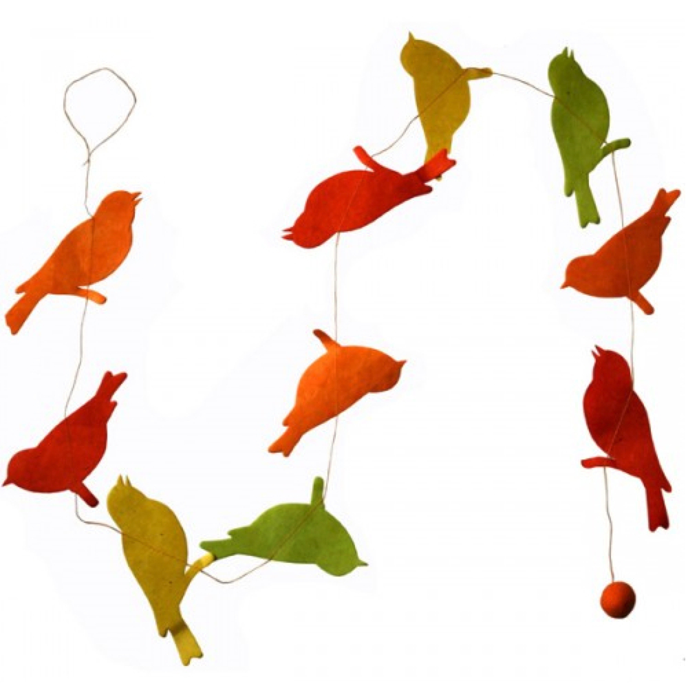 Lama Li Paper Garland Bird Asst Colors