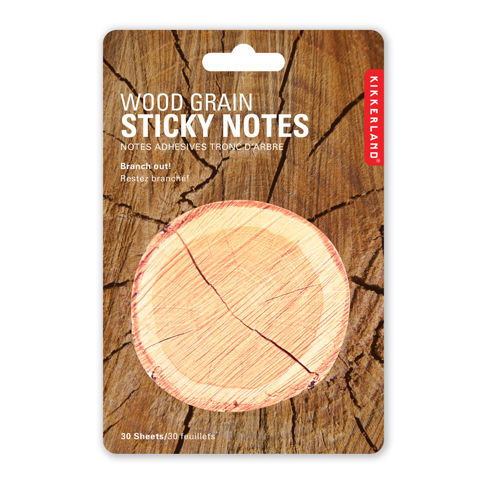 Kikkerland Wood Grain Sticky Notes