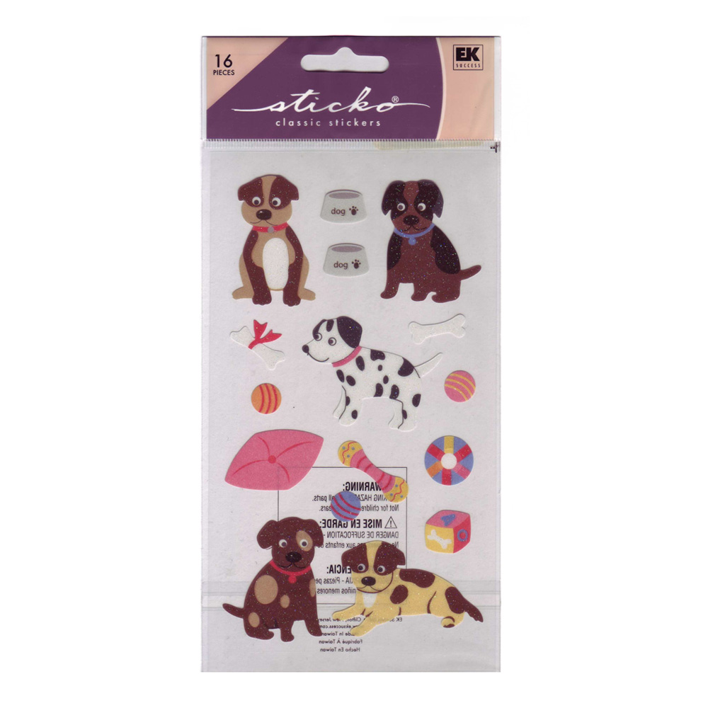 Stickopotamus Stickers Puppies Glitter