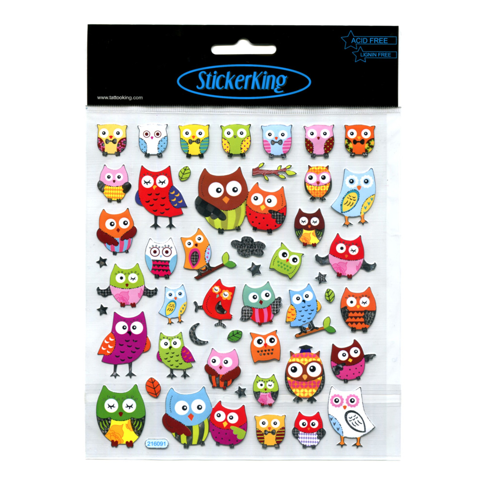 Tattoo King Multi-Colored Owl Stickers