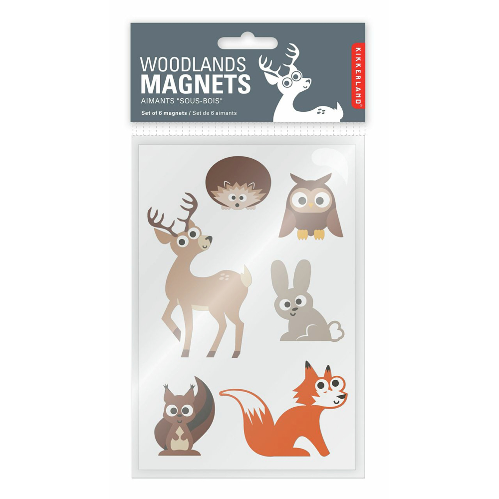Kikkerland Woodland Rubber Magnets Set Of 6