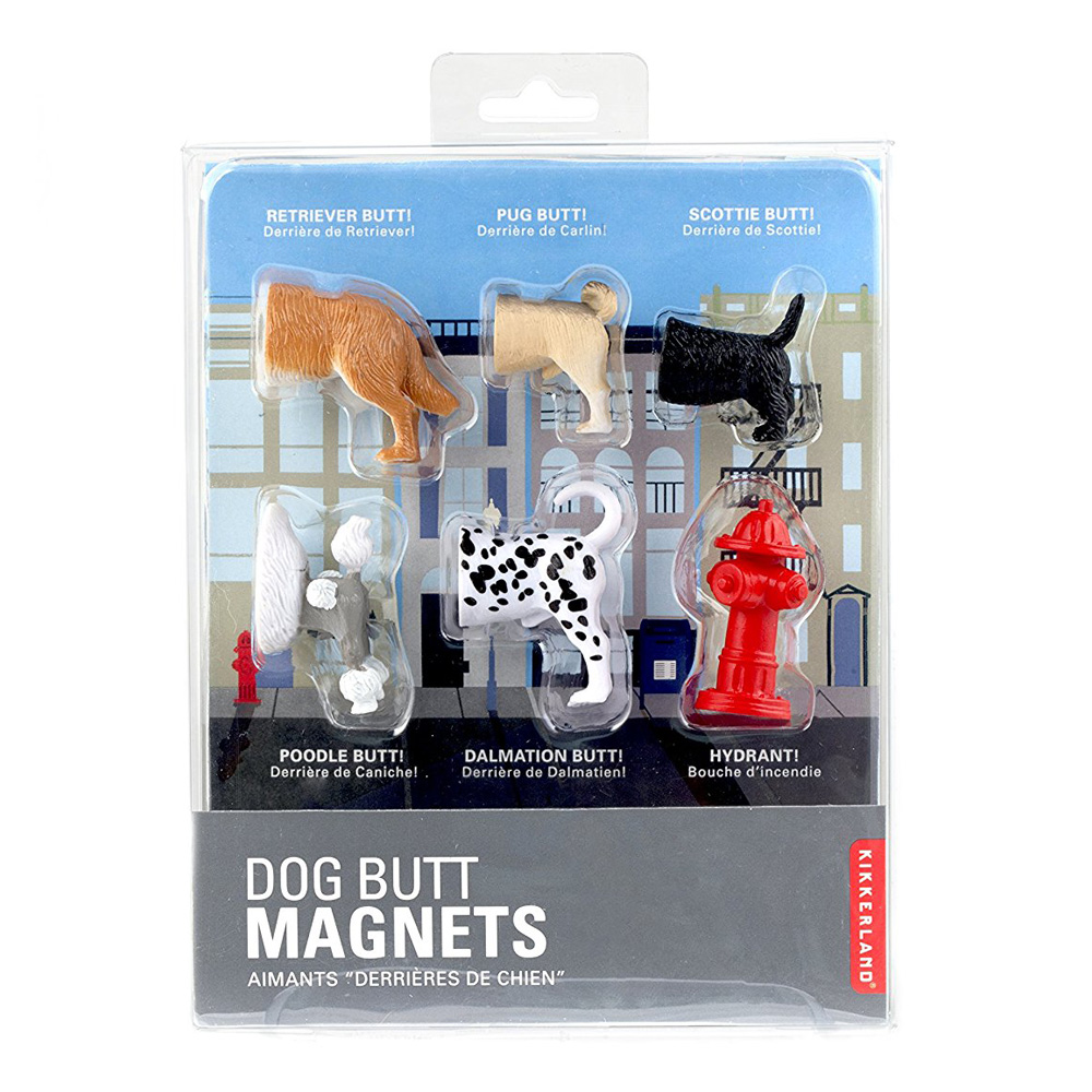 Kikkerland Dog Butts Animal Magnets Set Of 6