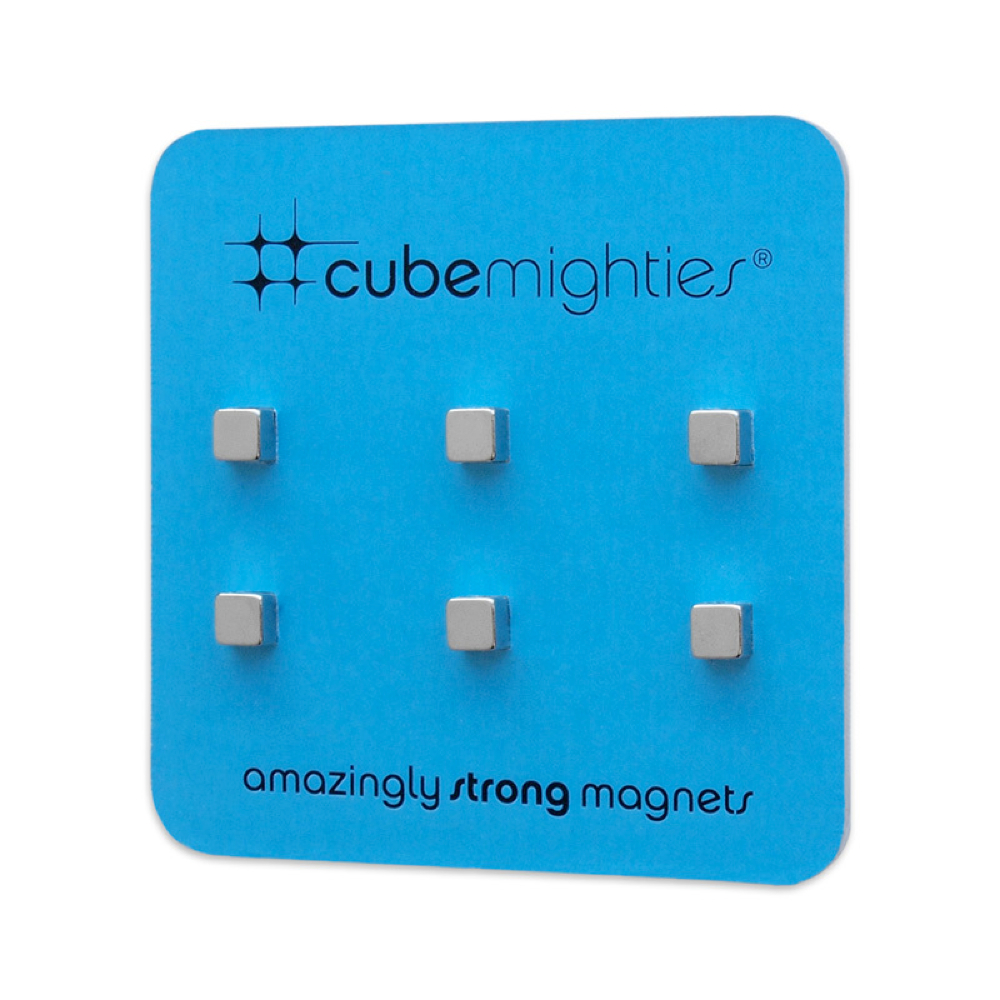Chromed Cube Mighties Magnets 6Pk