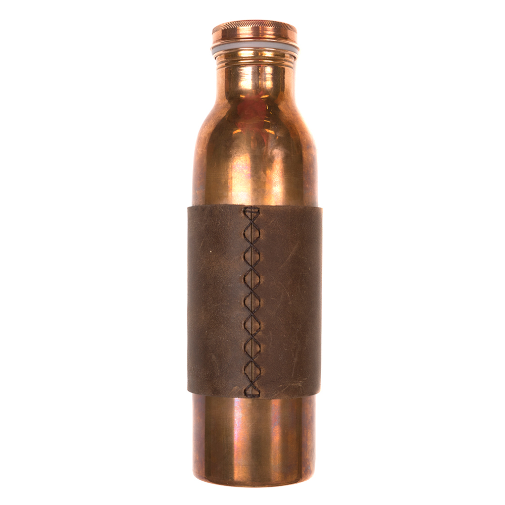 Rustico Copper Water Bottle Dark Brown Sleeve