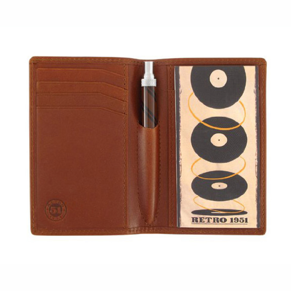 Retro Traveler Leather Folio Set Brown