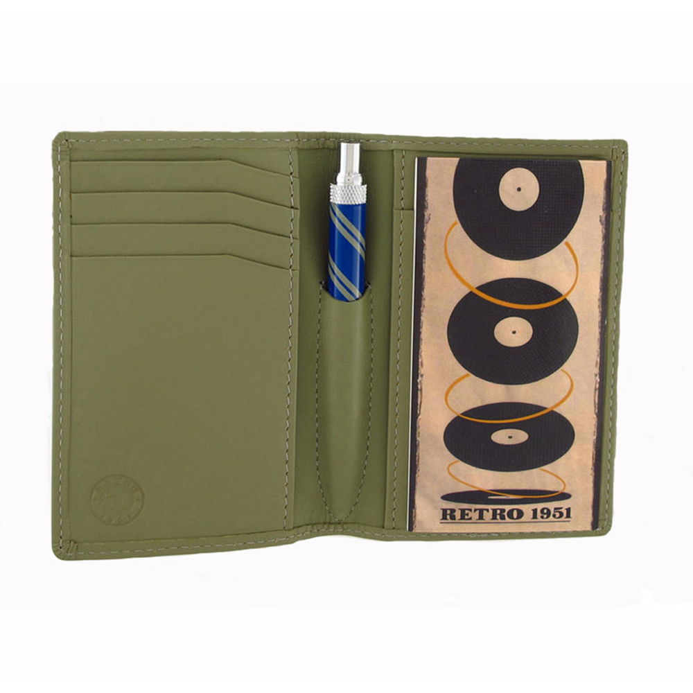 Retro Traveler Leather Folio Set Bamboo Green