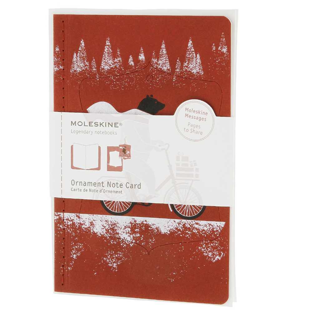 Moleskine Large Ornament Card: Bear On Bike