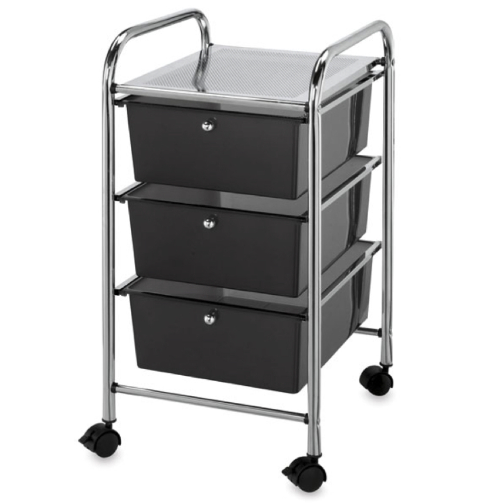 Mobile Storage Cart 3 Drawer Smoke *OS1