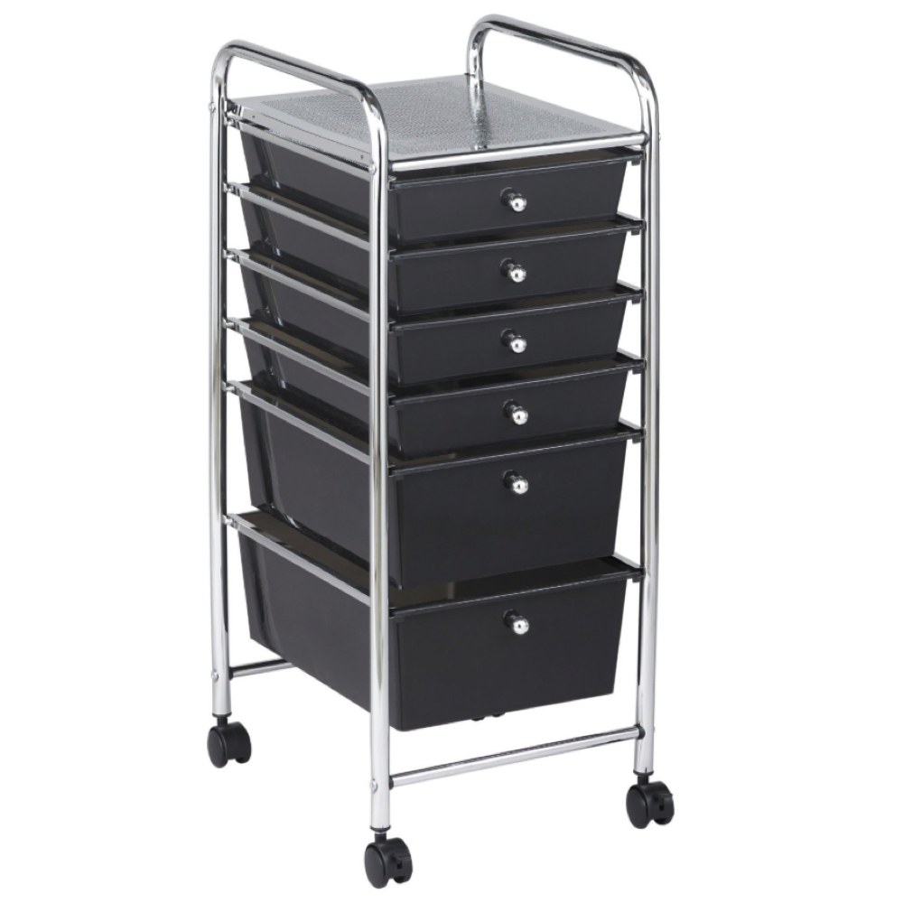 Mobile Storage Cart 6 Drawer Smoke *OS1