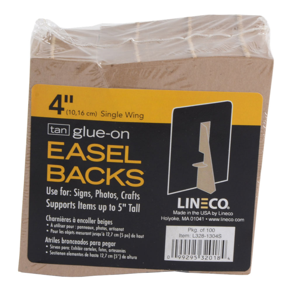 Lineco Glue-On Easel Backs 4 Inch Tan 100/Pkg