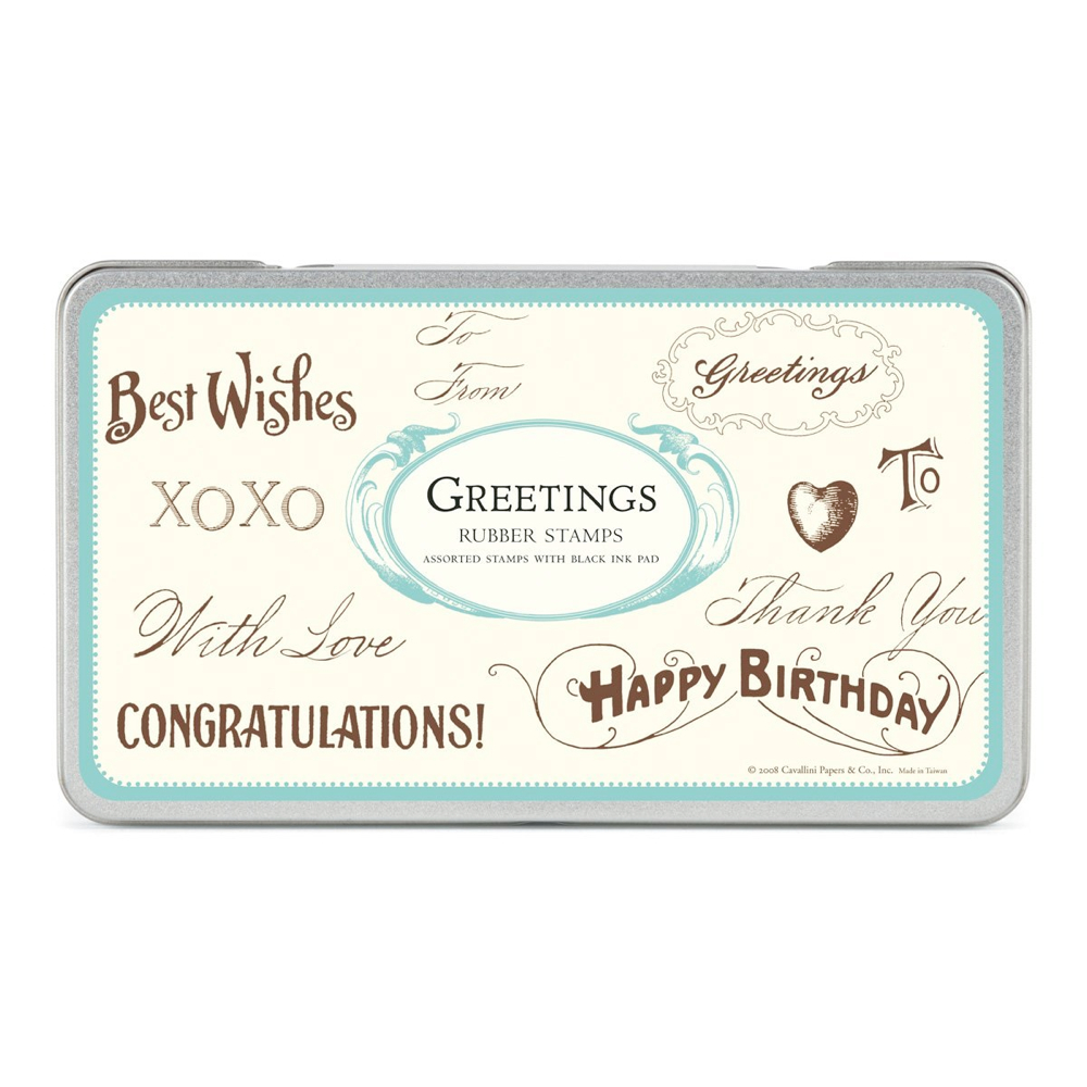 Rubber Stamp Set In Tin: Greetings