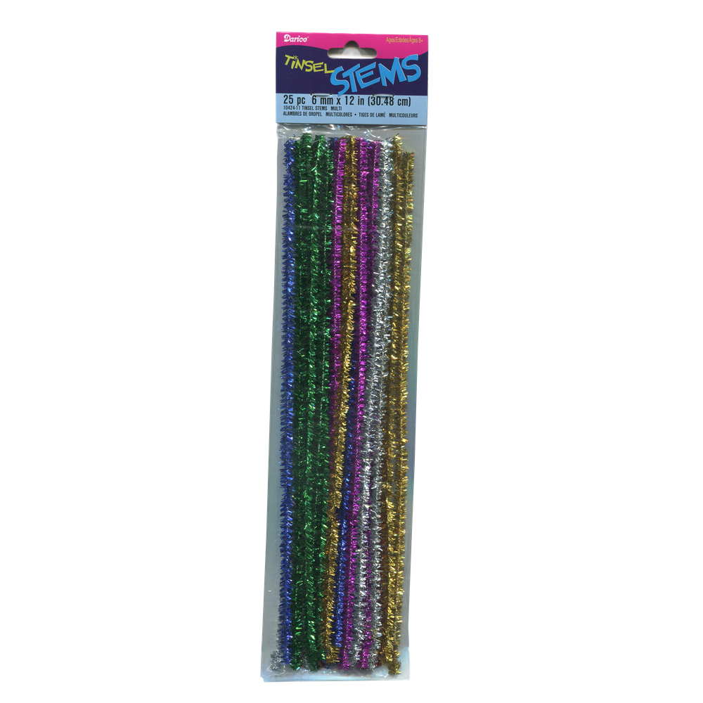 Pipe Cleaners Assorted Tinsel 12 Inch 25/Pk