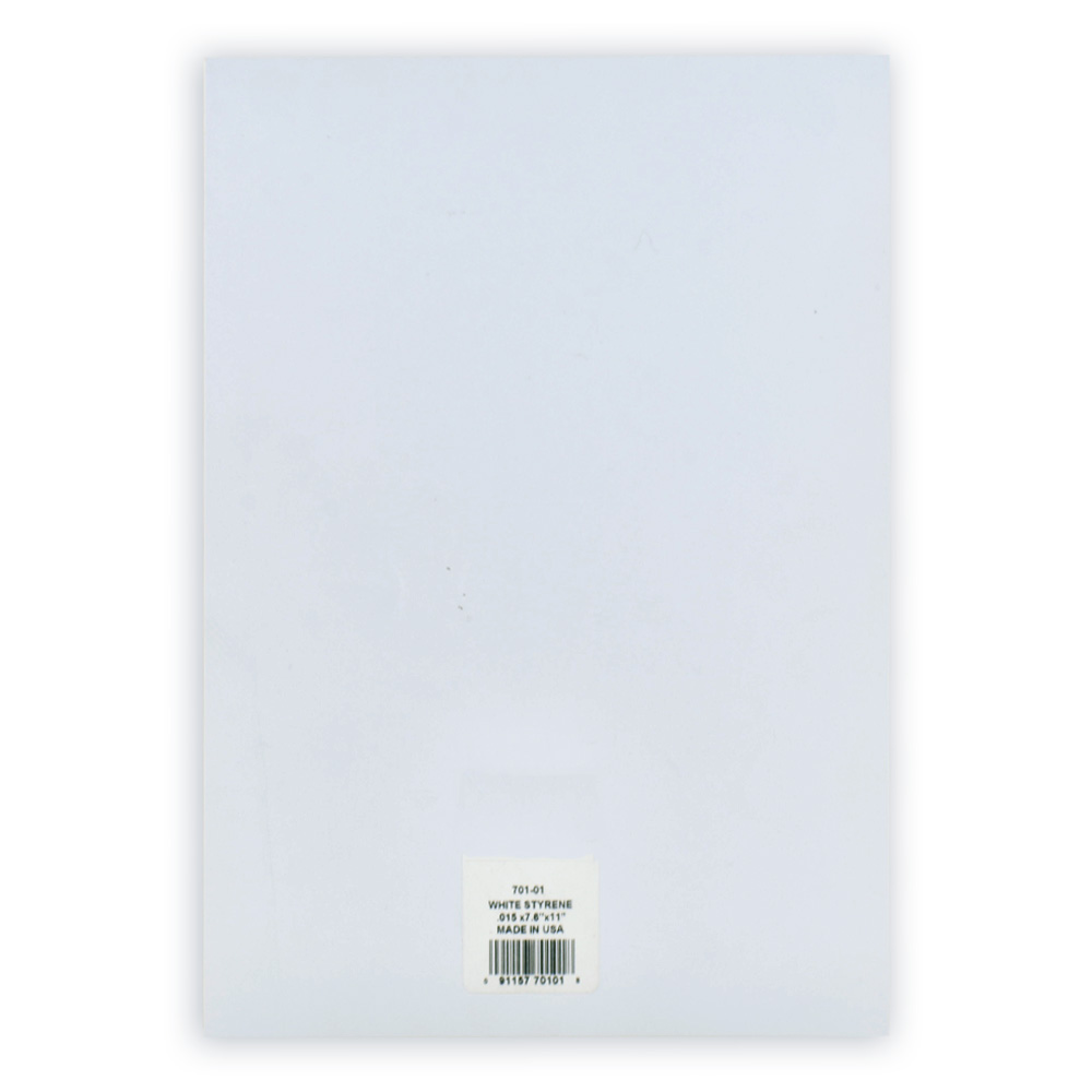 White Styrene Sheet .040 X 7.6 X 11 Inches