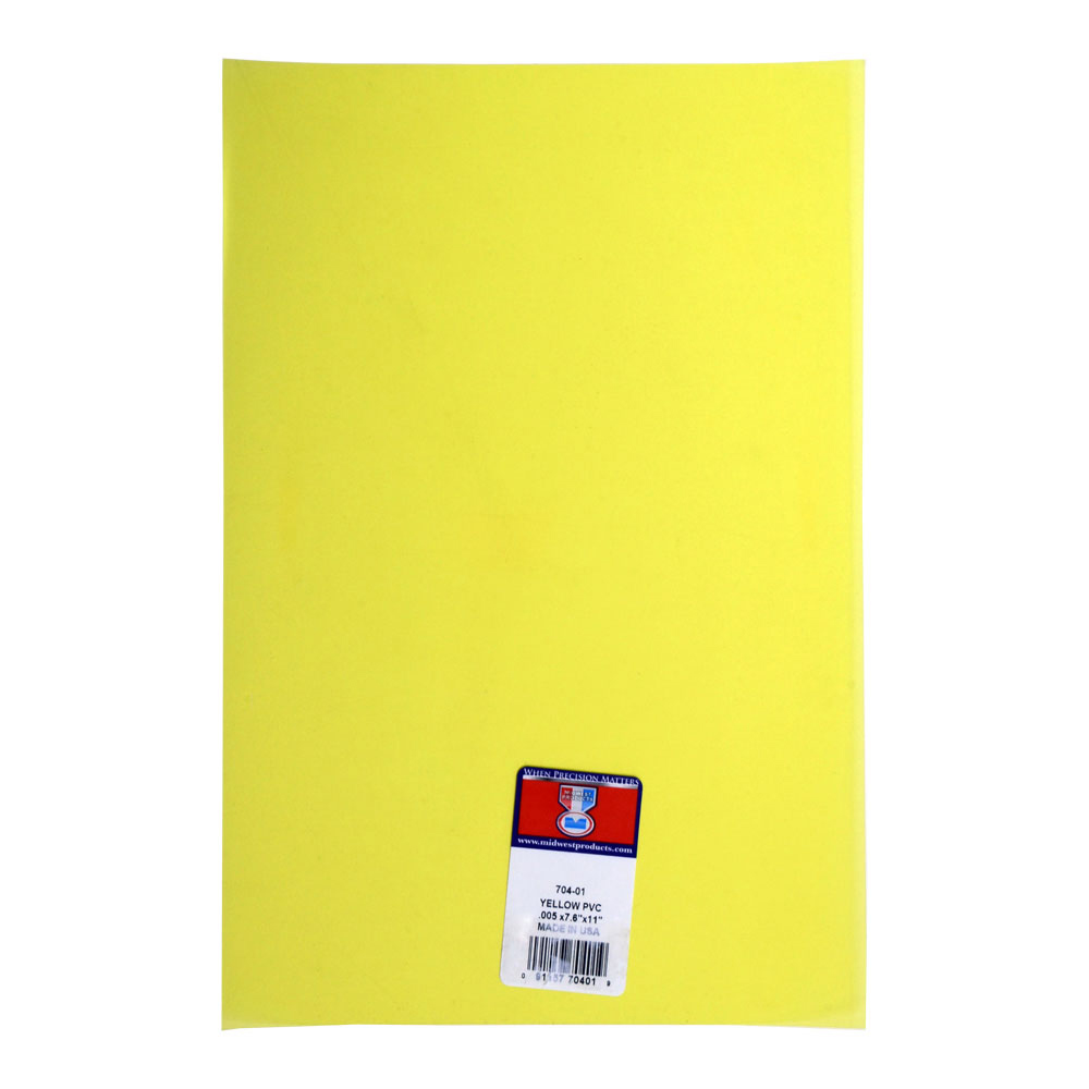 Pvc Sheet Yellow .005 X 7.6 X 11 Inches