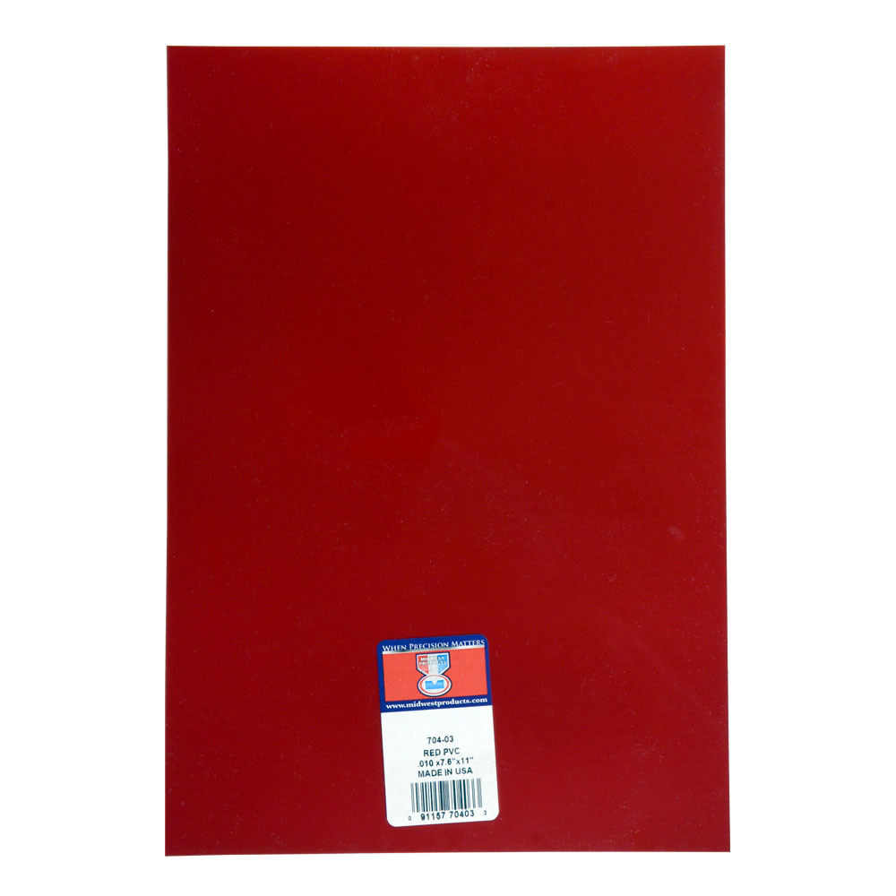 Pvc Sheet Red .010 X 7.6 X 11 Inches