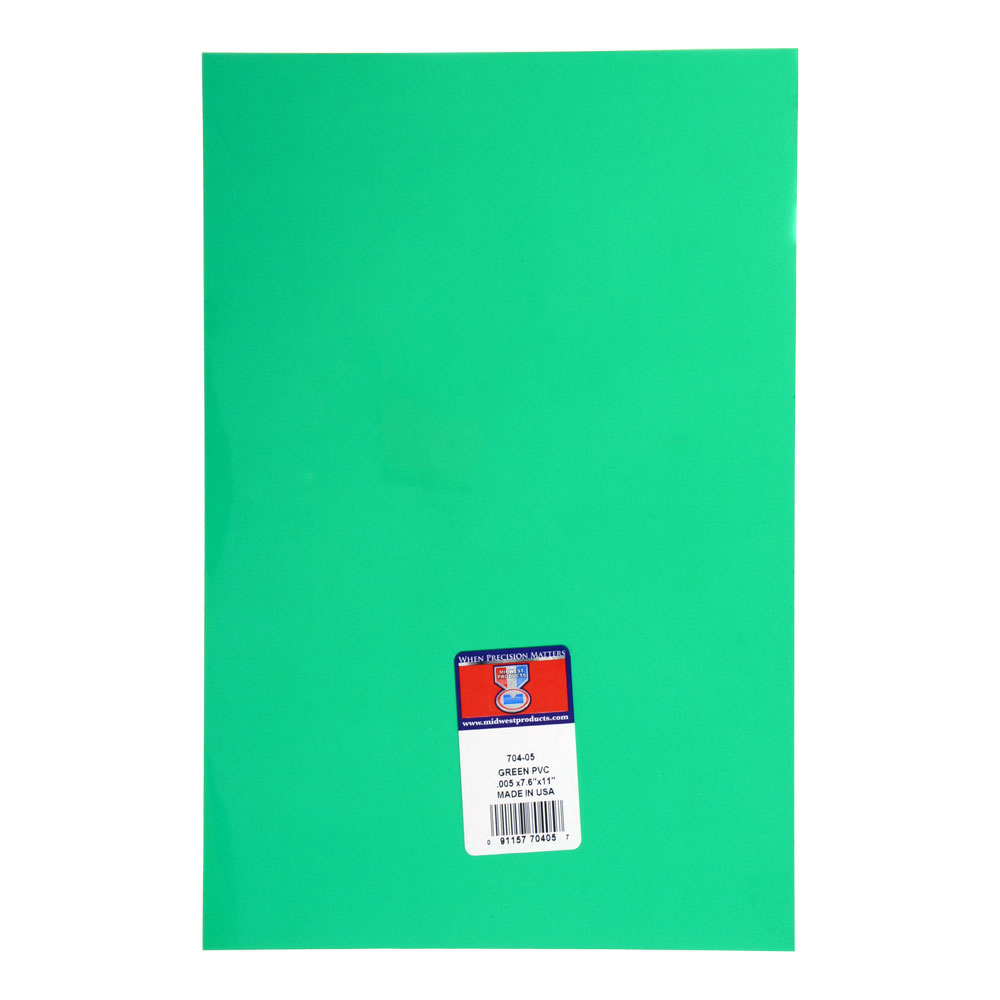 Pvc Sheet Green .005 X 7.6 X 11 Inches