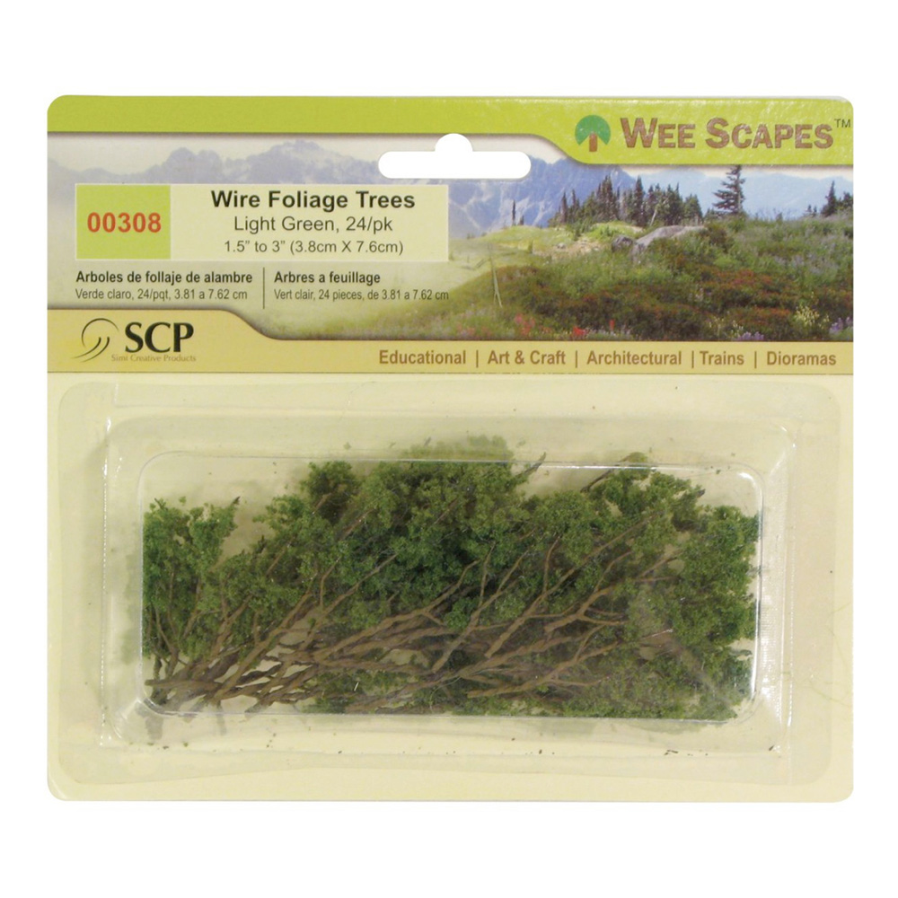 Lt Green Wire Foliage Trees 24/Pk