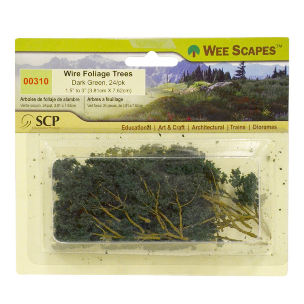 Dk Green Wire Foliage Trees 24/Pk