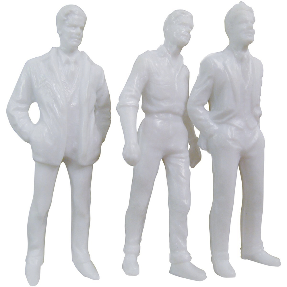 Male Figures White 3In 3/Pk