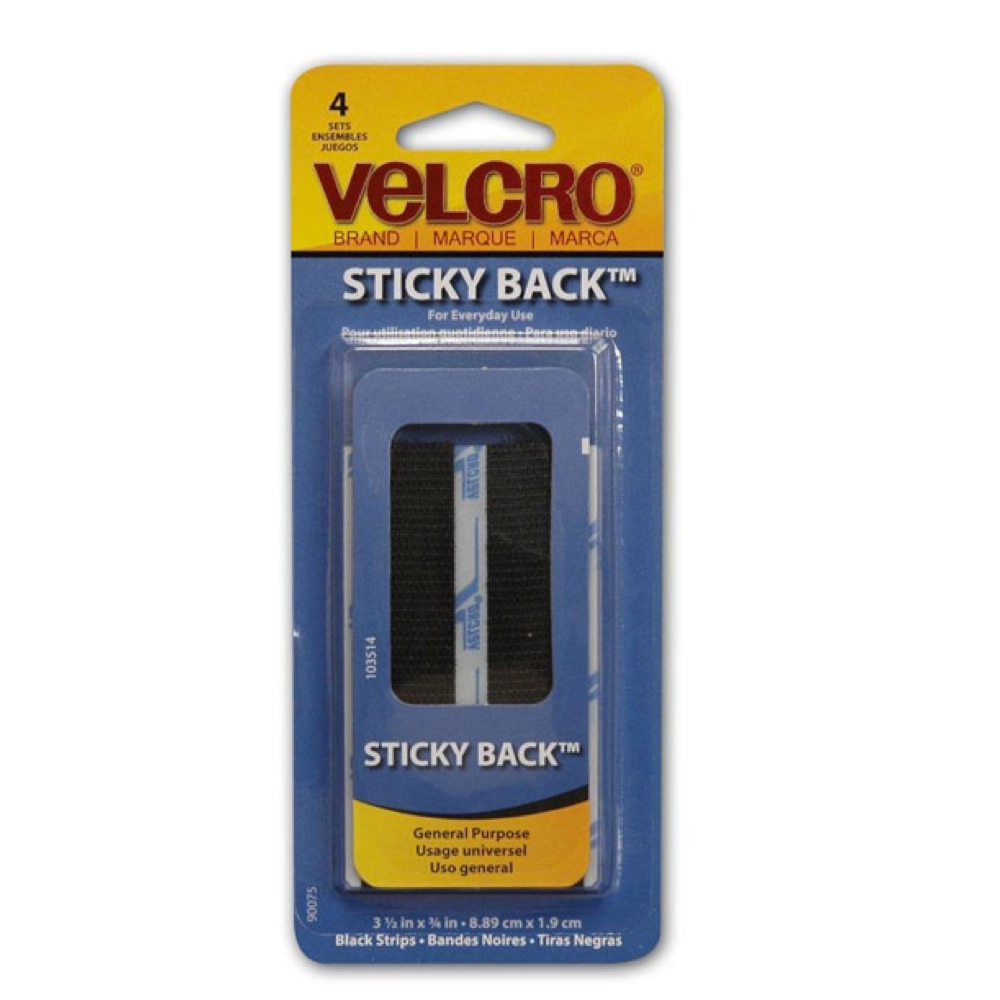 Velcro 3.5 In Strips Black 4/Pk