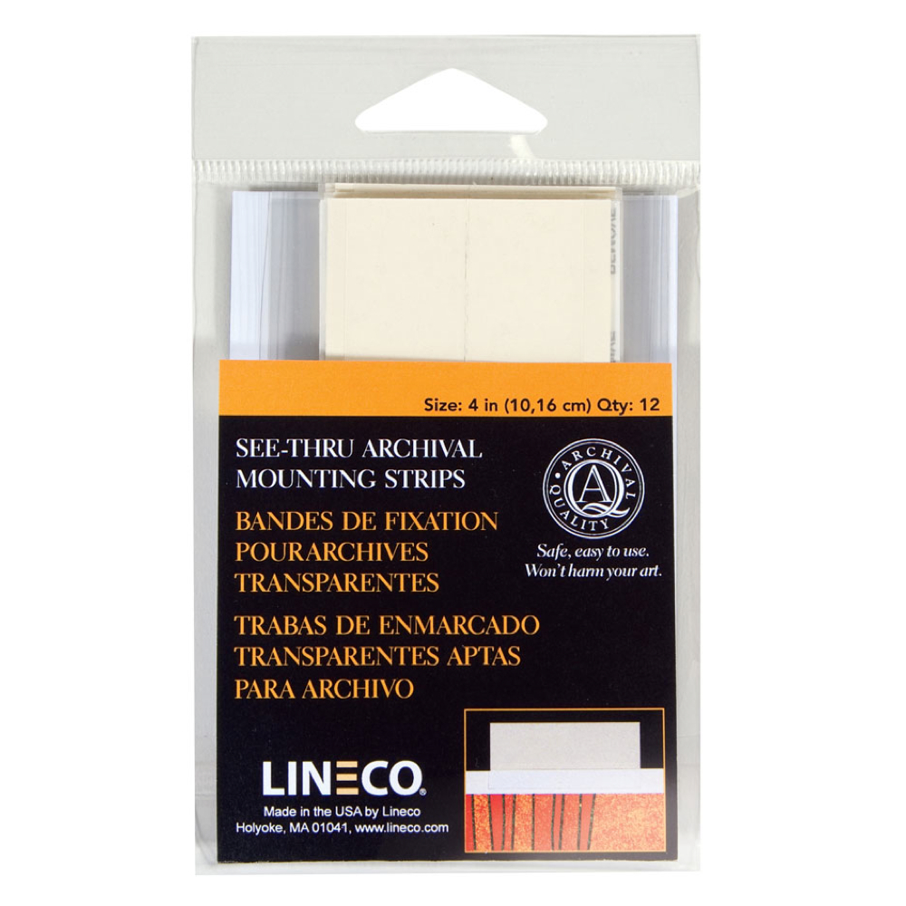 Lineco See-Thru Mounting Strips 4In Pkg 12