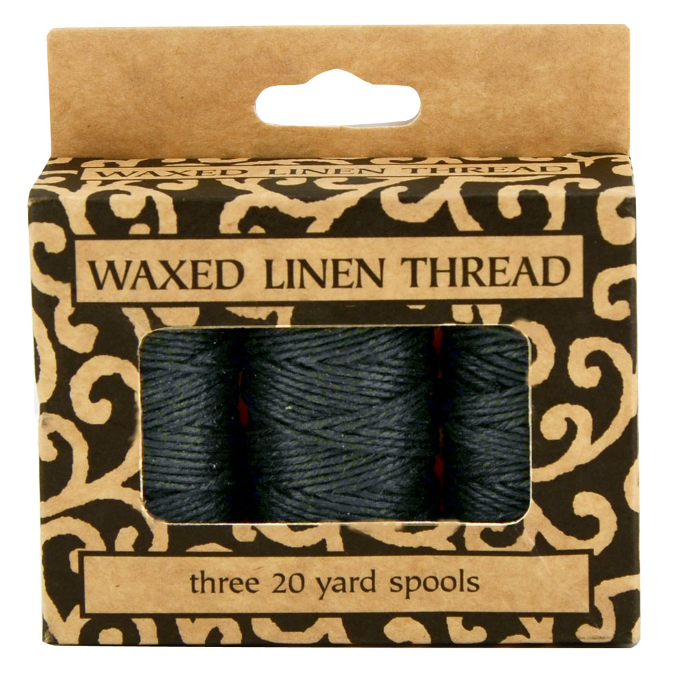 Lineco Waxed Linen Thread 3Pk Black